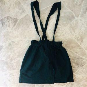 NWOT Zara girls green jumper skirt suspenders 14